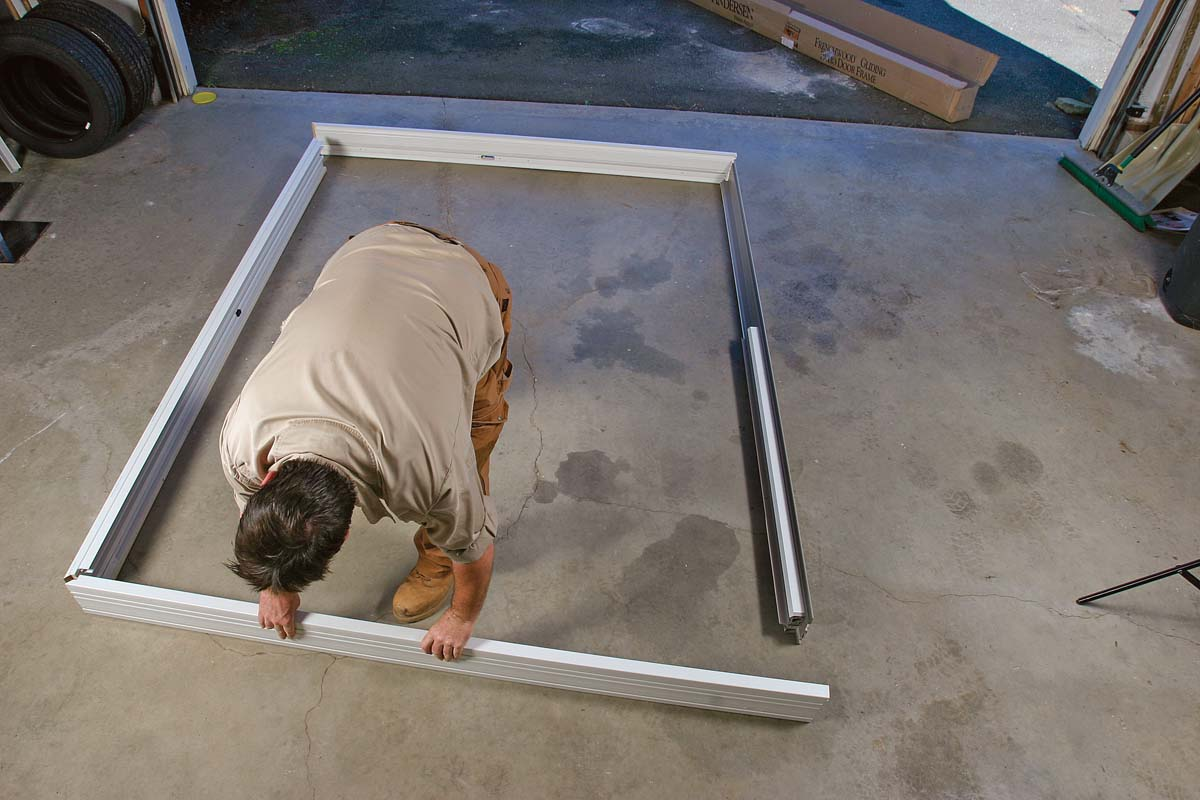 Assemble the frame on a flat floor with the exterior facing up