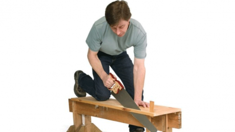 cutting with a handsaw