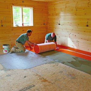 spread mortar on big floor