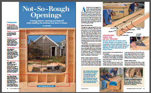 framing rough openings magazine spread