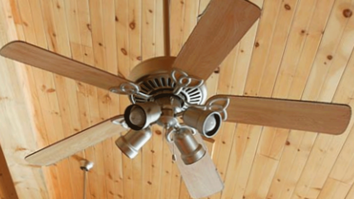 new ceiling fan against wood ceiling