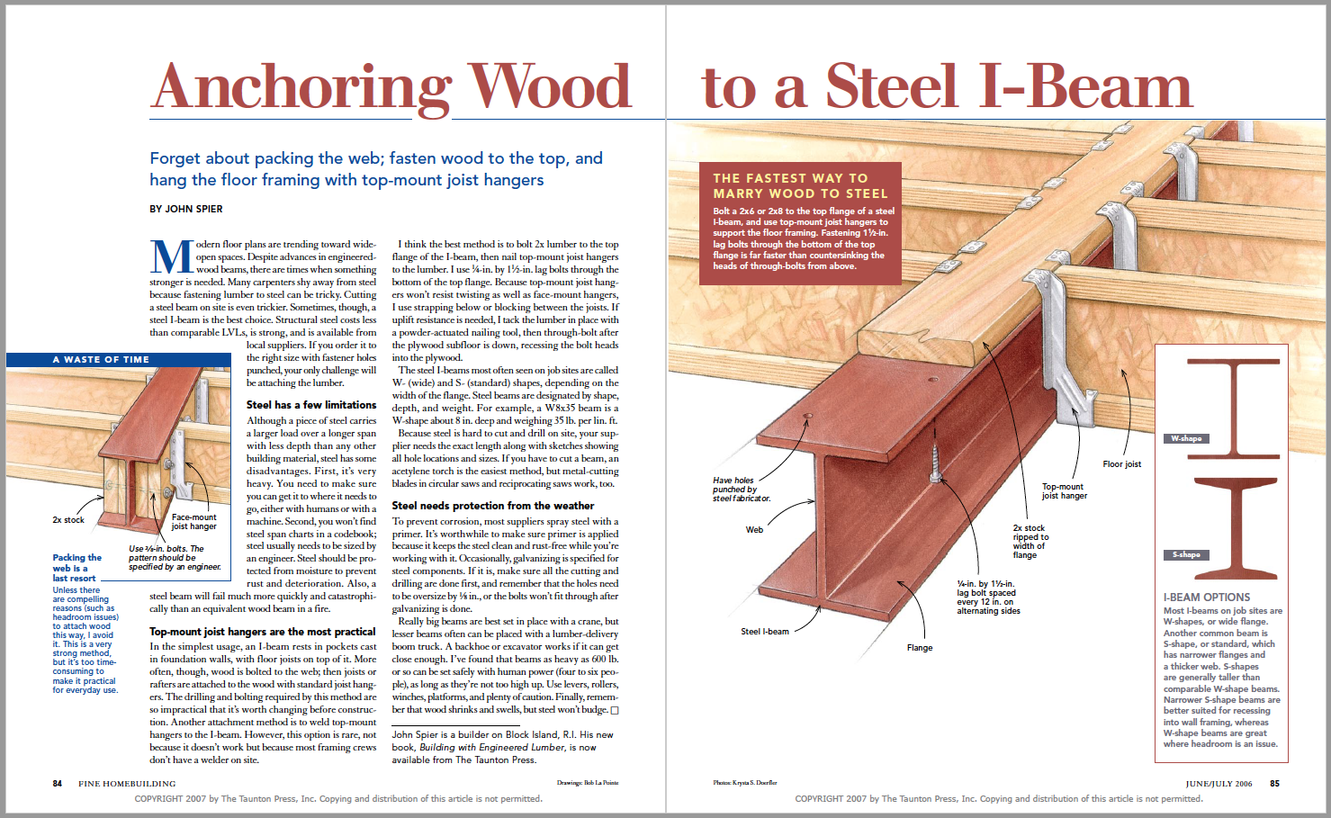 Anchoring Wood to a Steel I-Beam spread image