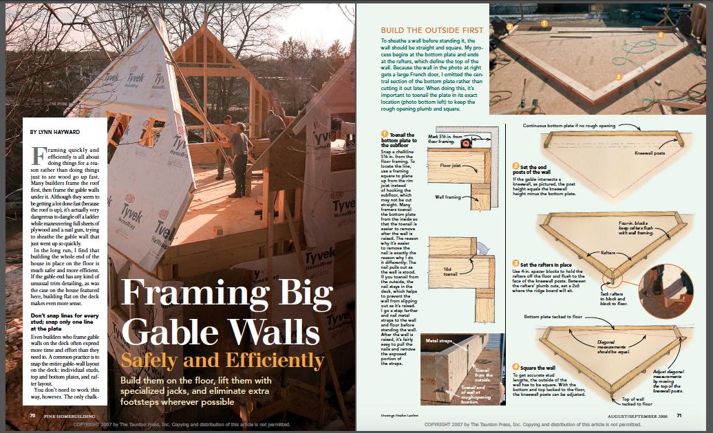 framing big gable walls magazine spread