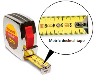 metric tape measure,