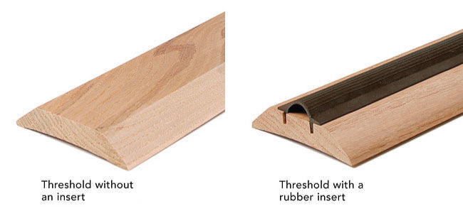 A threshold without an insert and a threshold with a rubber insert side by side