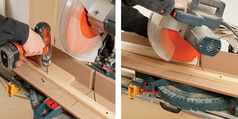 It's faster to create a saw-table stop that reproduces the ceiling projection.