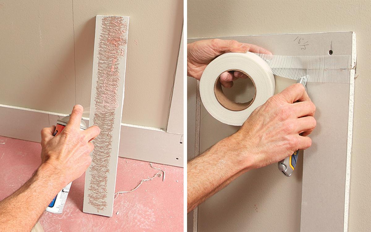 spray adhesive and mesh tape