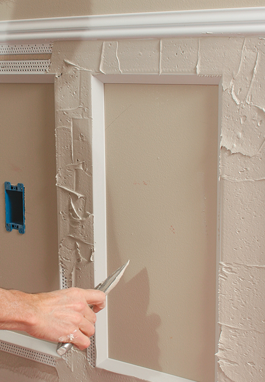 joint compound on wainscot panels