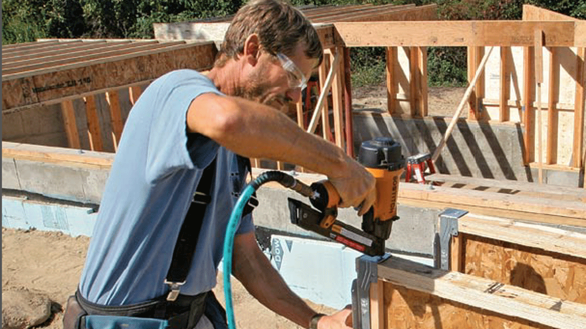 worker working with engineered joists