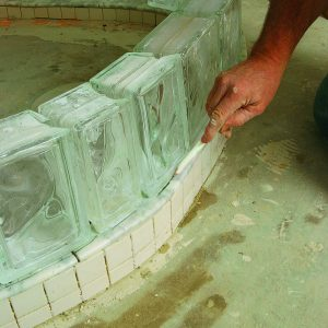 prep curb to hold glass-block shower