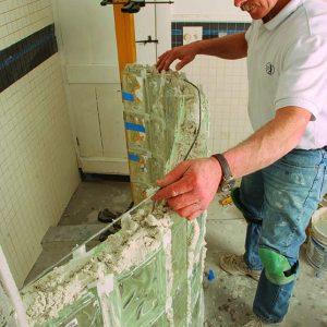 reinforcement strips for glass-block shower