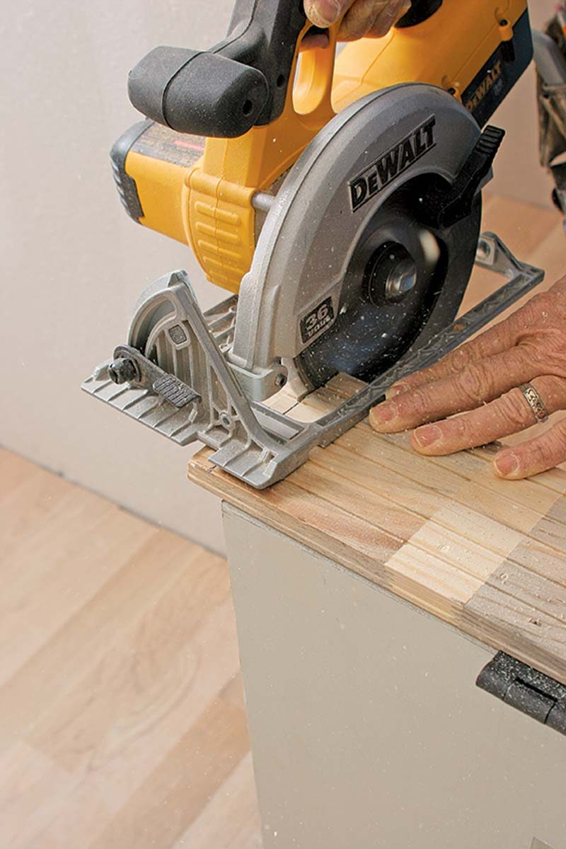 If the floor is out of level, trim that much more off the jamb leg on the high side.