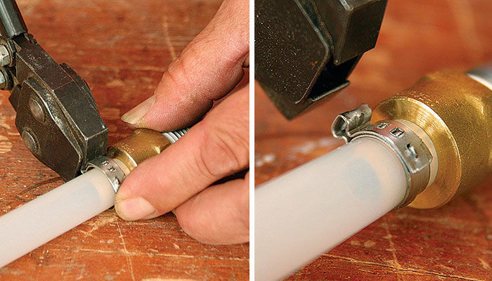 Clamp the ring with a crimper