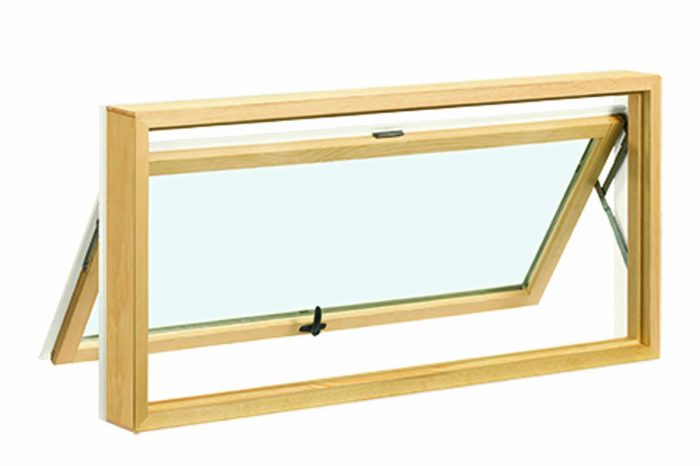 Awning Top-hinged window that usually opens outward with a crank.