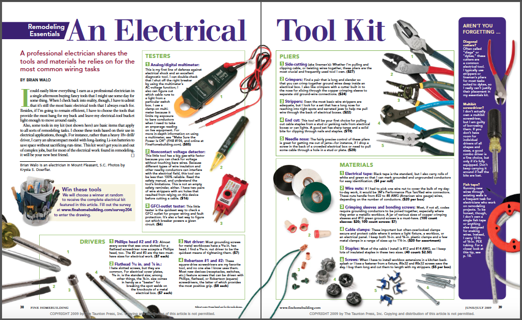 AN ELECTRICAL TOOL KIT MAGAZINE SPREAD