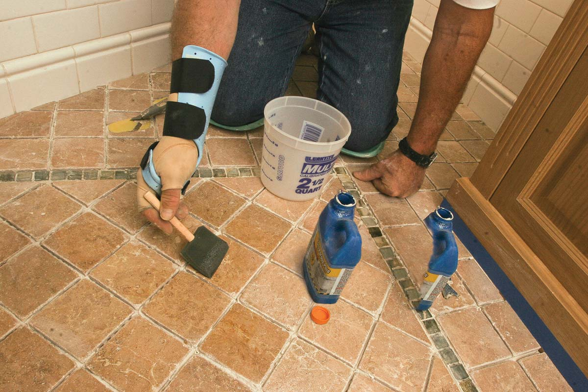 This step is often skipped, but it's a must. Any dust or small specks of debris left on the floor will appear in the grout joints.