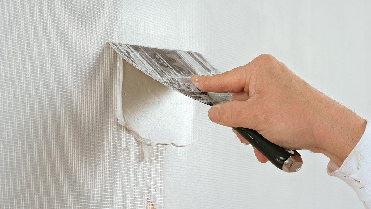 scrape compound off wall