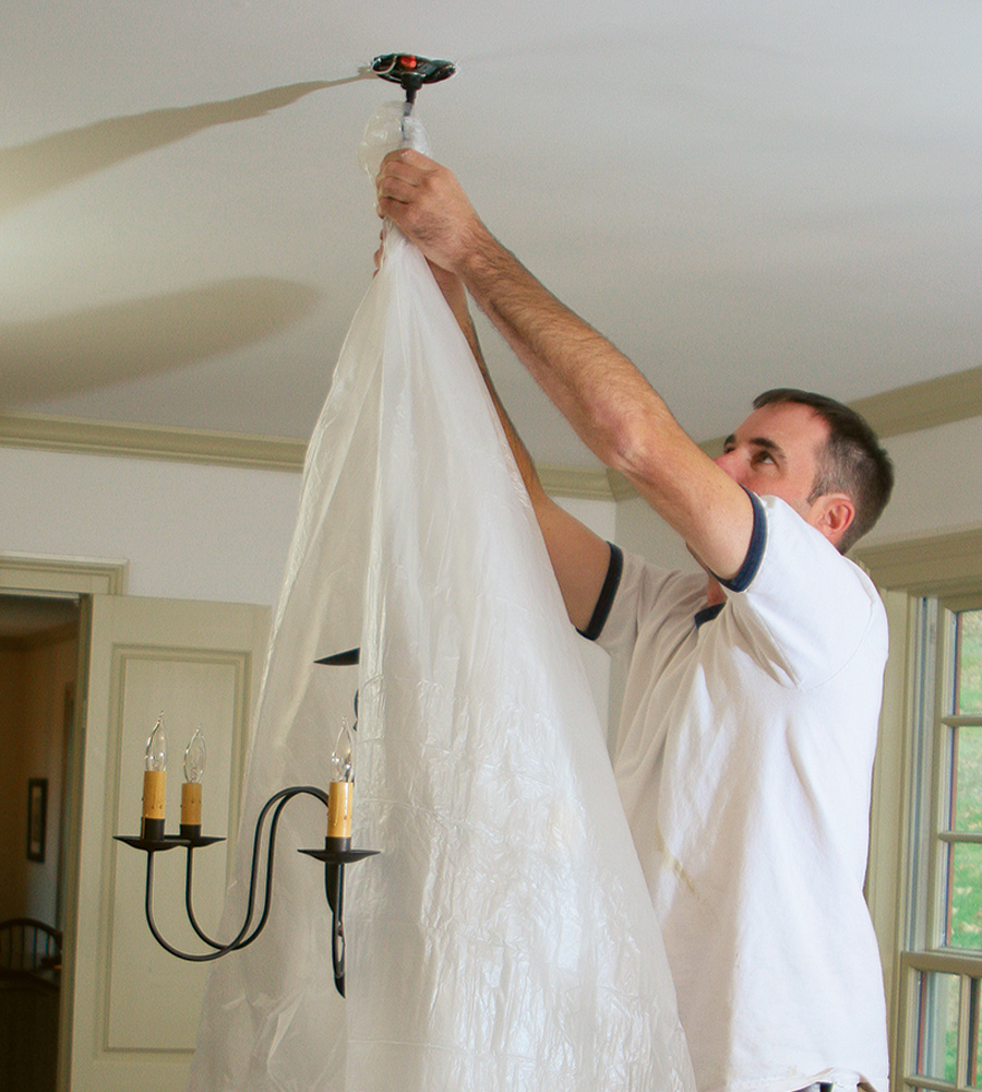 covering chandelier for painting