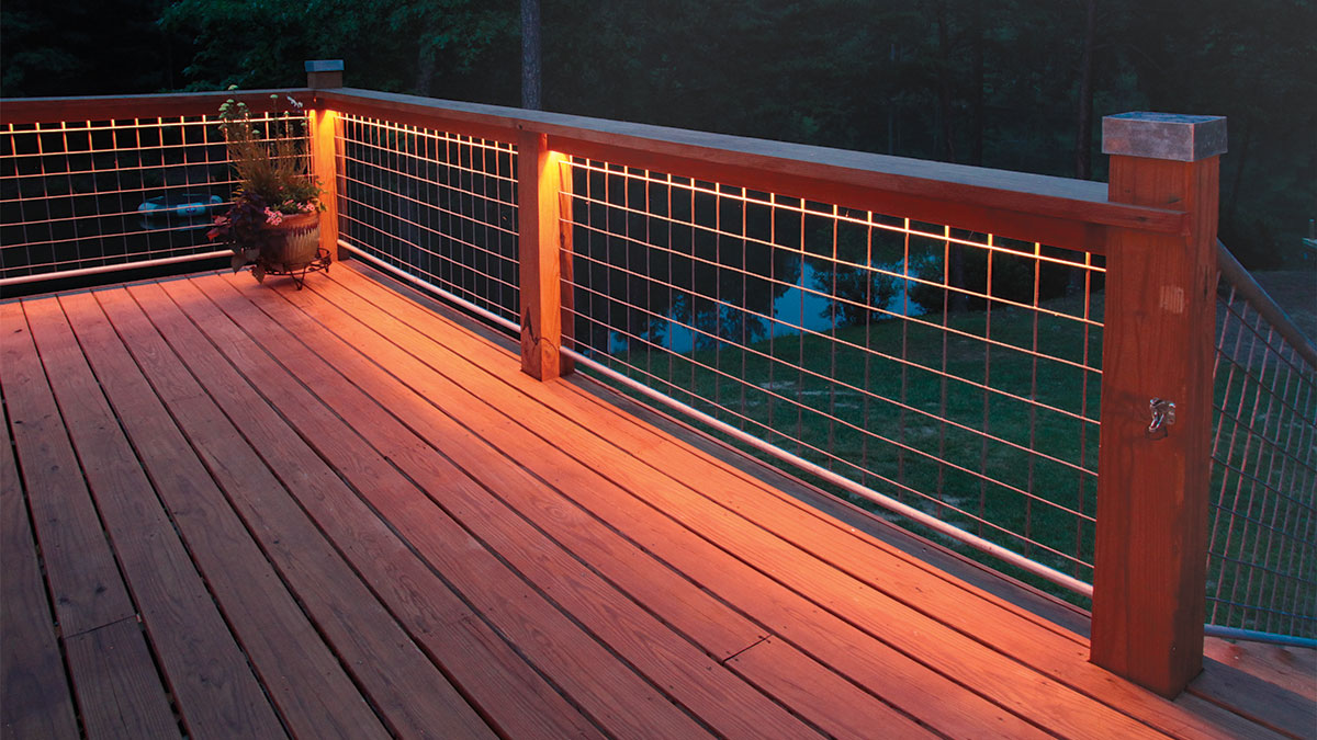 deck railings with wire panels