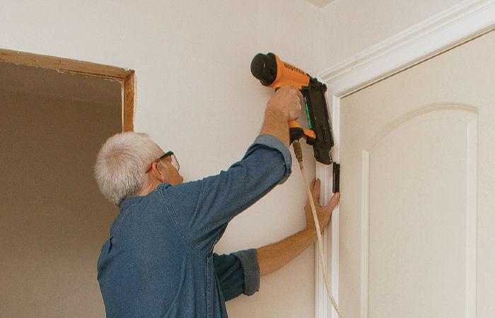 Casing holds the door plumb