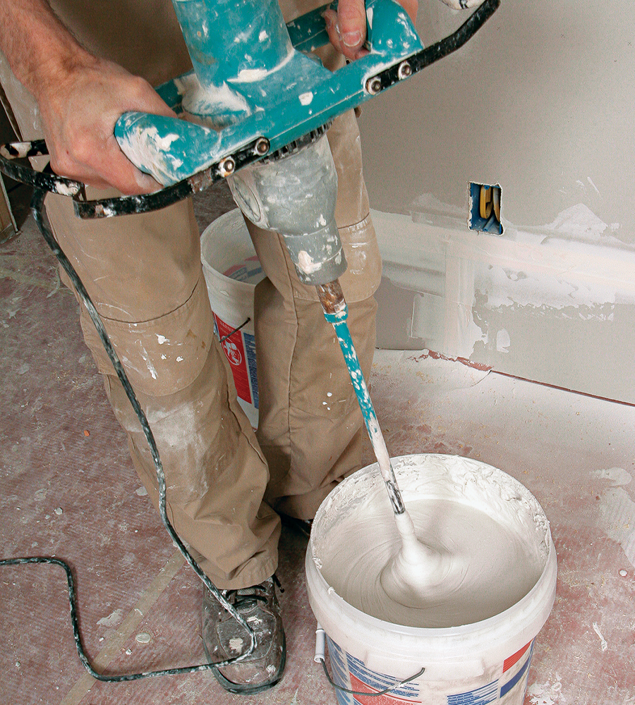 mixing drywall compound