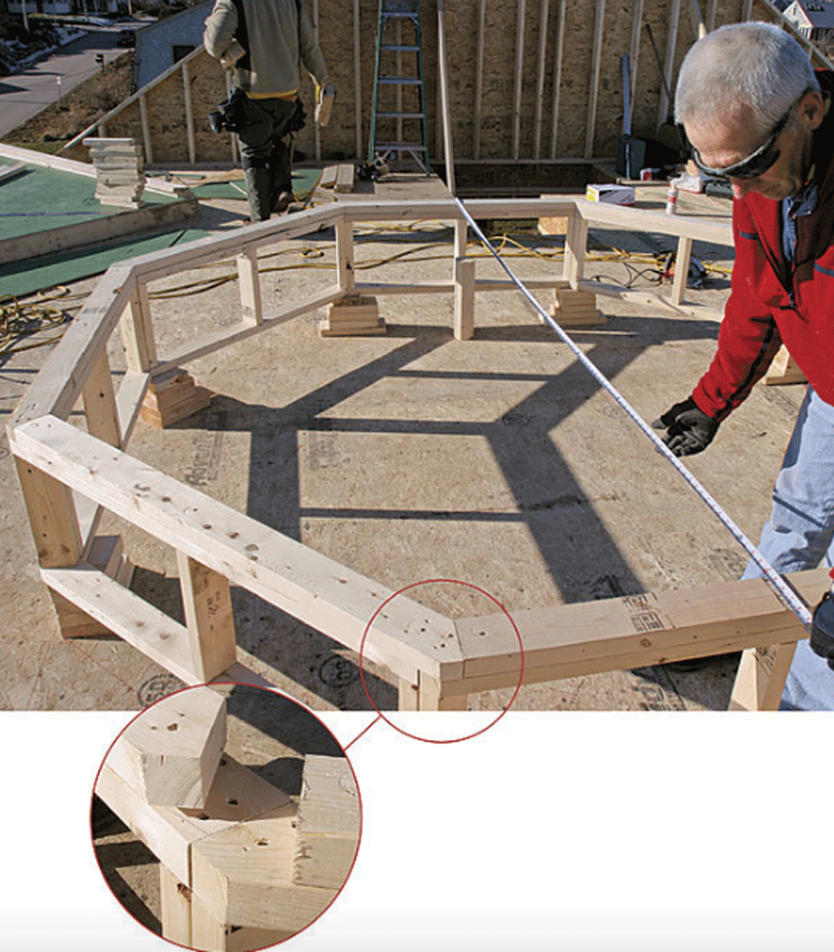 man working on an octagon roof