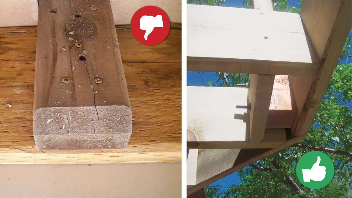Don't use nails or screws to fasten railing posts to deck framing, use bolts