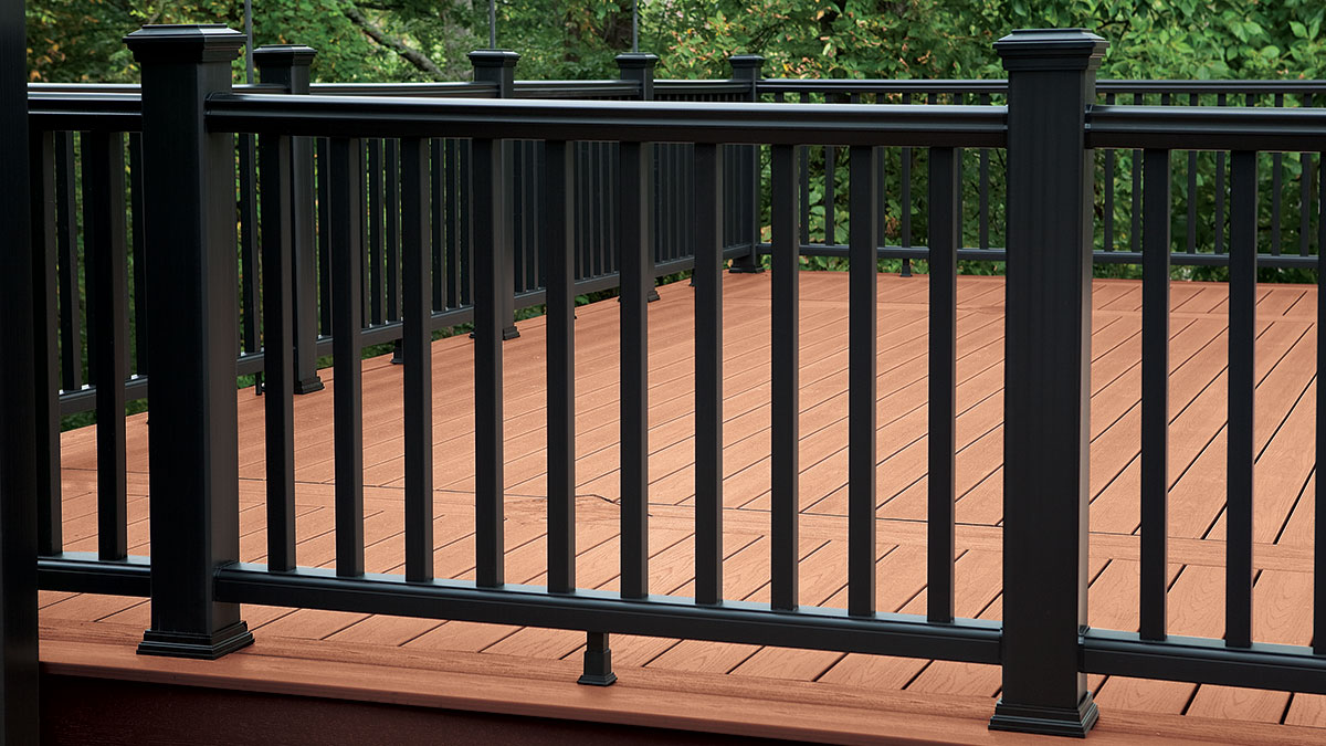 3 Feet, Black Aluminum Post to Post Inline Hand Rail or Support for Custom Wood Top Rail on Cable Railing Deck