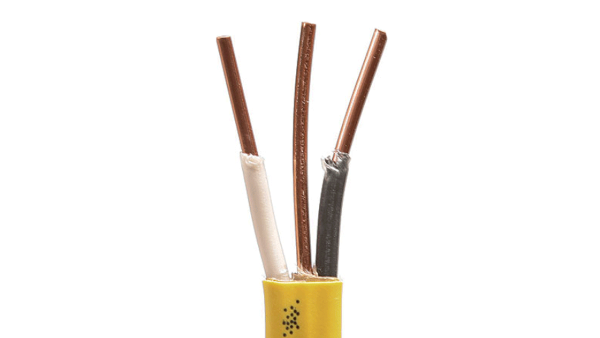 Yellow-sheathed NM has two 12-gauge conductors and a bare ground. It can handle a circuit of up to 20 amps. Sheathing on 14-gauge NM, designed for 15-amp circuits, is white.
