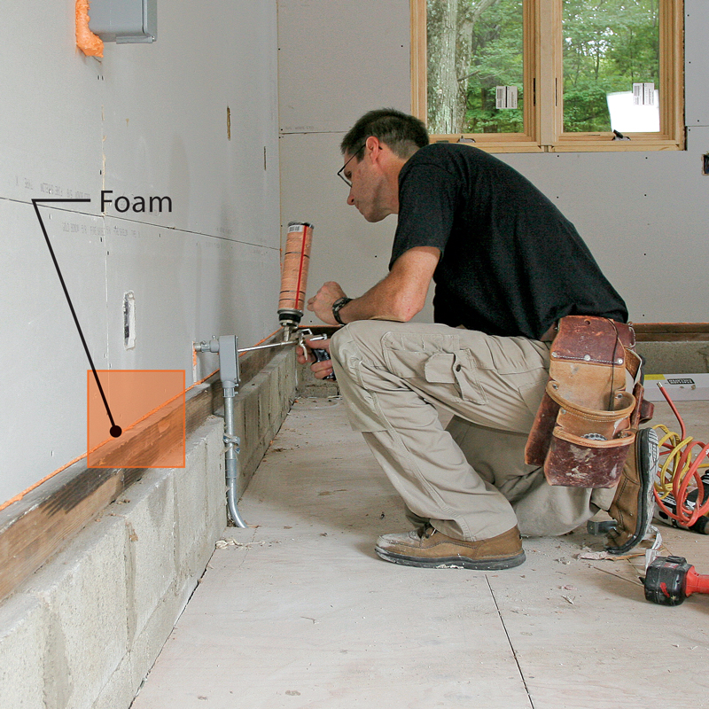 Foam the big cracks. After the walls and ceiling are hung, spray canned foam along the bottom of the wall and in any large gaps or cracks.