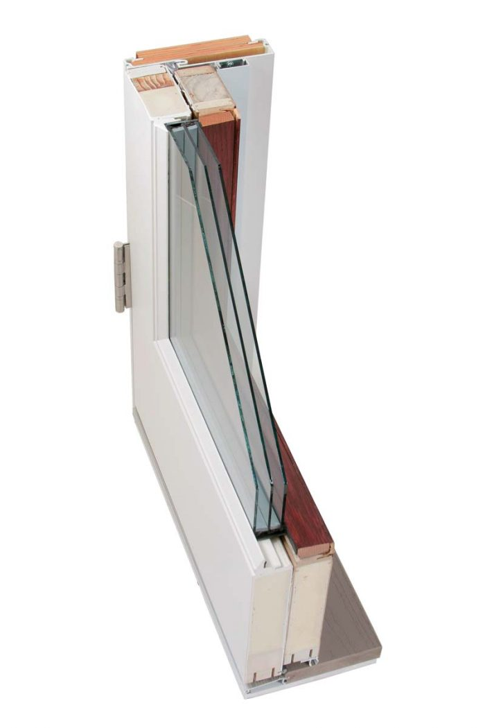 Themotech Fiberglass has three layers of glass, triple weatherstripping, and a multipoint lock.