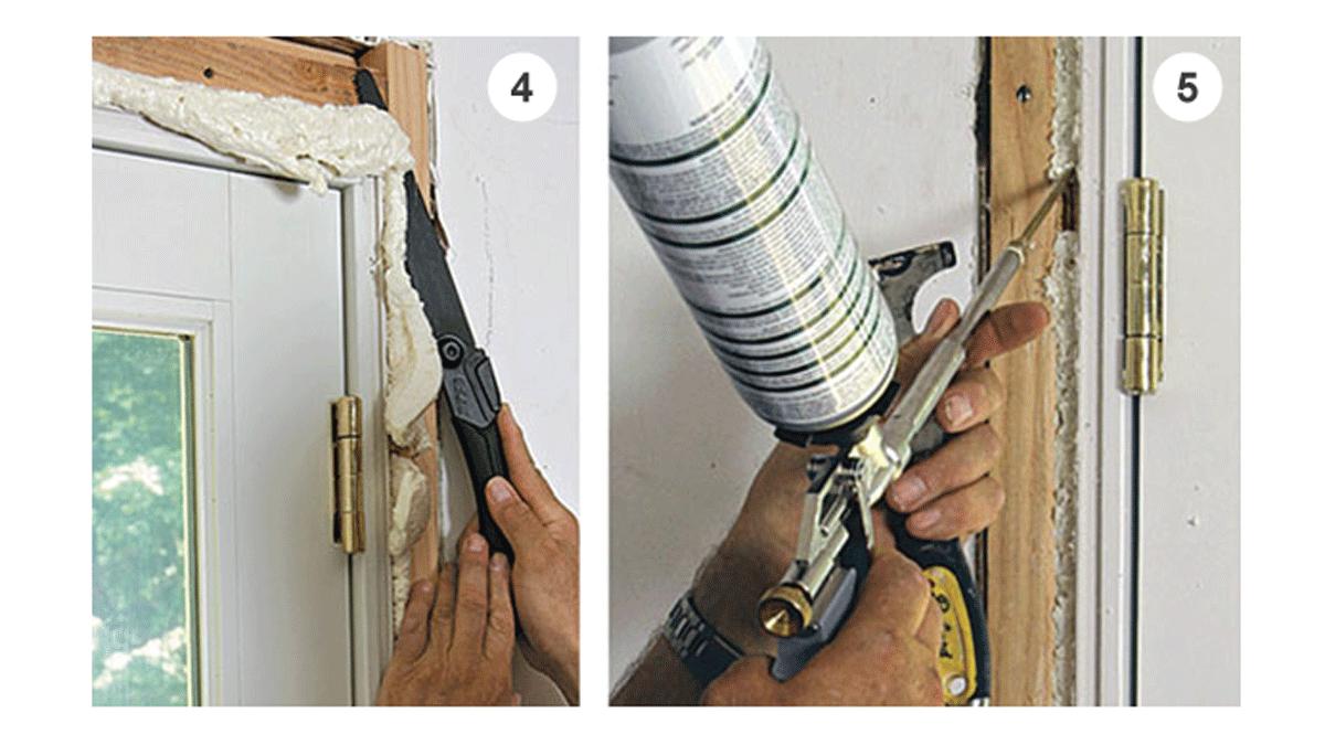 person air-sealing a doorway