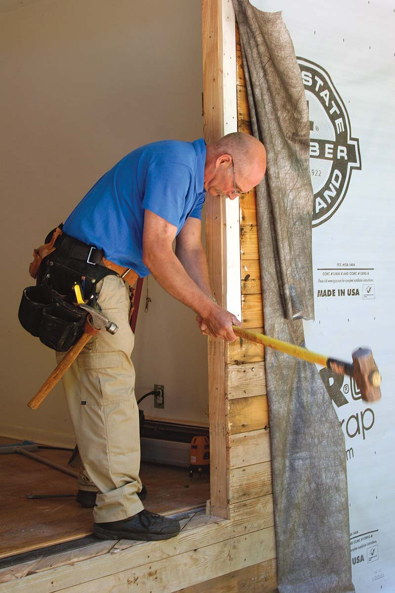 Out-of-plumb and cross-legged openings often can be made straighter with a sledgehammer.