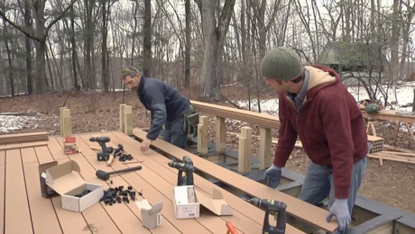 installing decking for a grade level deck