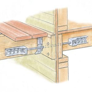 The lateral connection joins a deck joist to a joist inside the house.