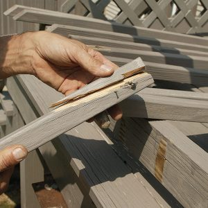 Several balusters are broken and loose.