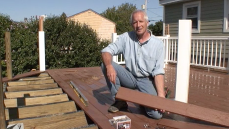 laying down decking for an elevated deck