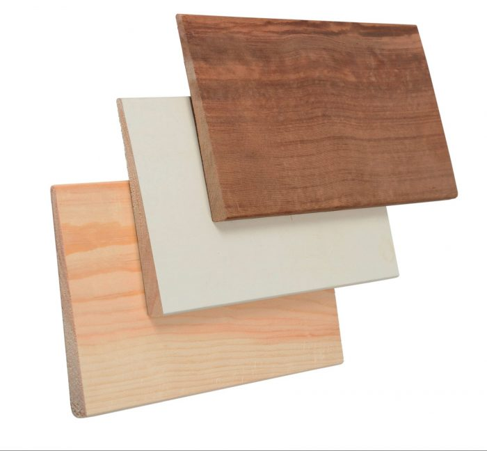 From top: Red cedar, primed pine, clear-pine lap board