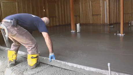 person installing a slab