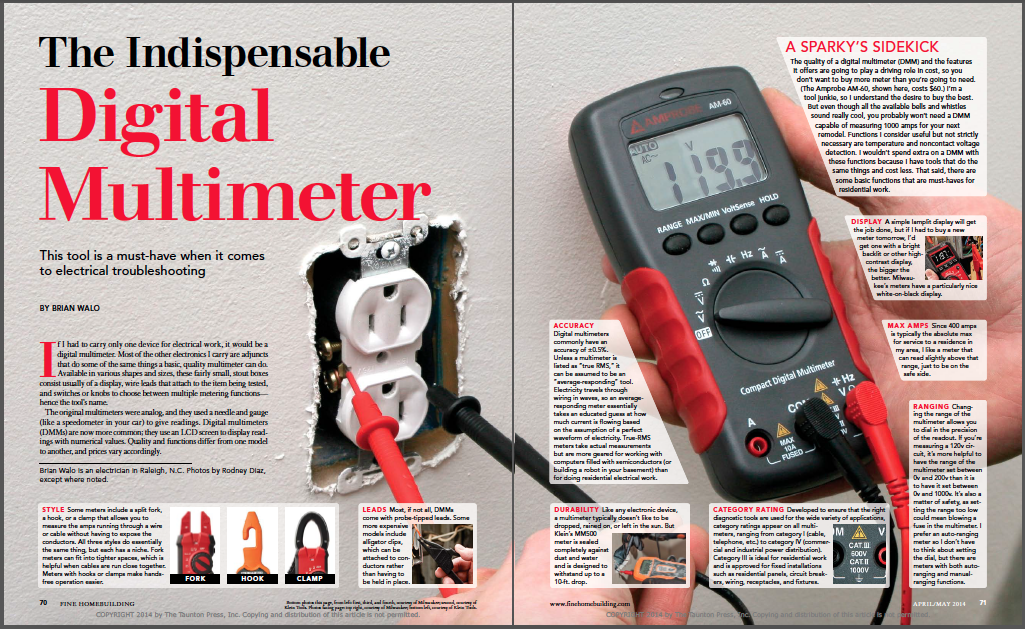 magazine spread for digital multimeter