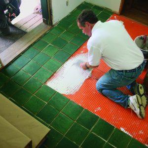 high-traffic tile floor laying