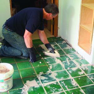 spread grout for high-traffic floor