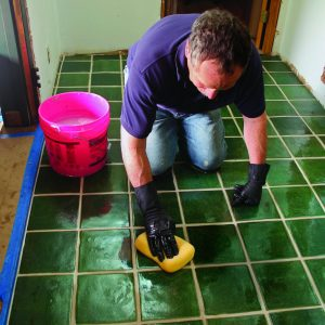 clean and shine high-traffic tile floor
