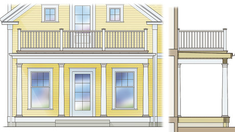 porch with rooftop deck