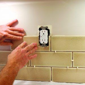 tiling backsplash around outlet