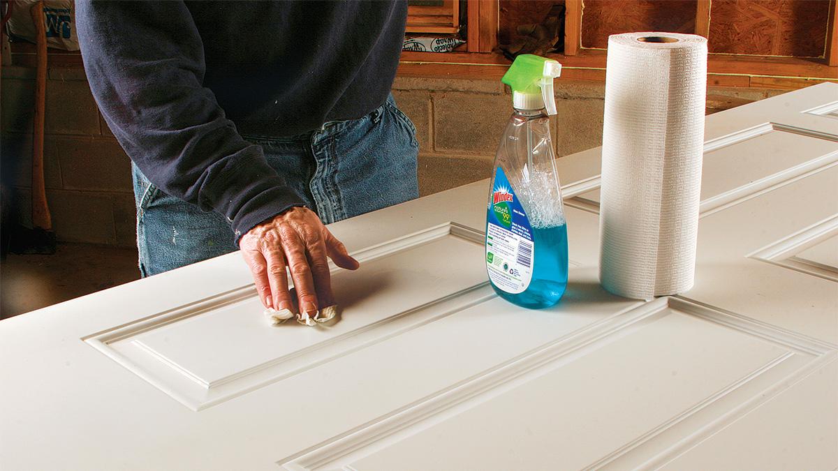 clean steel door for paint