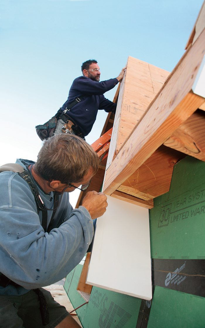 Measure soffits by holding the first piece in place and marking its length