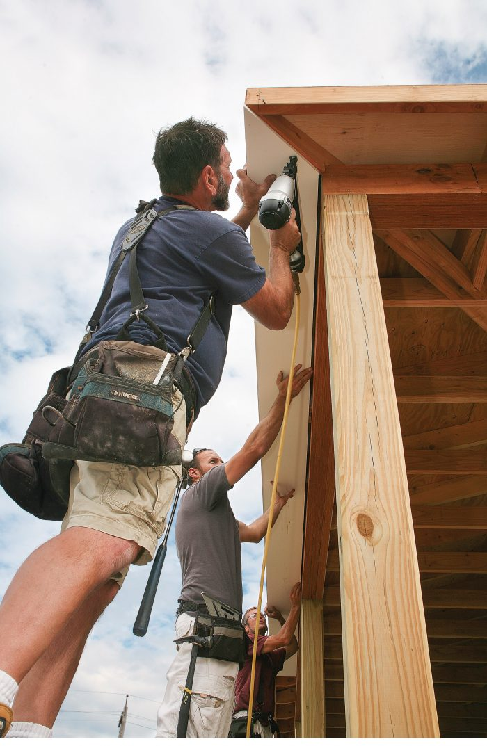 start at one end of the soffit with a miter, keeping the outside edge flush to the subfascia.