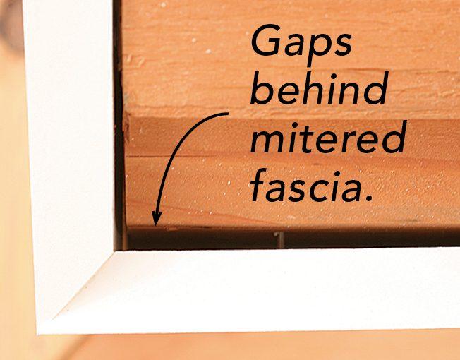gaps behind mitered fascia