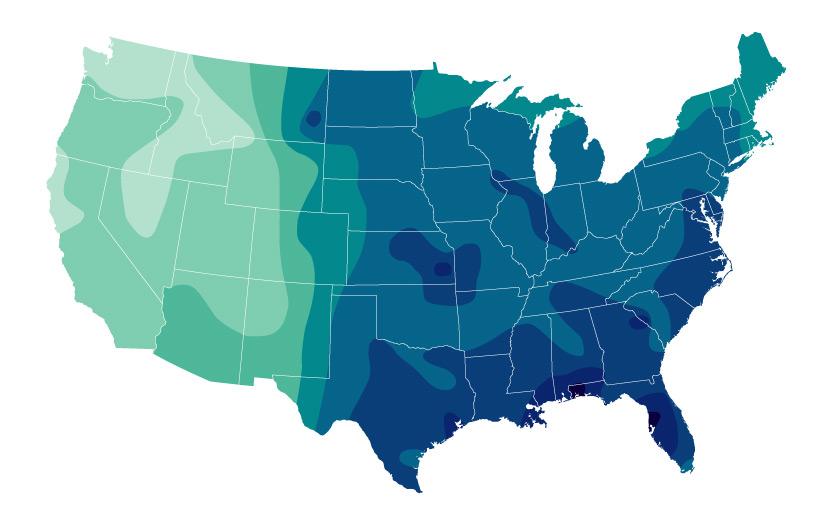 rainfall intensity across the us